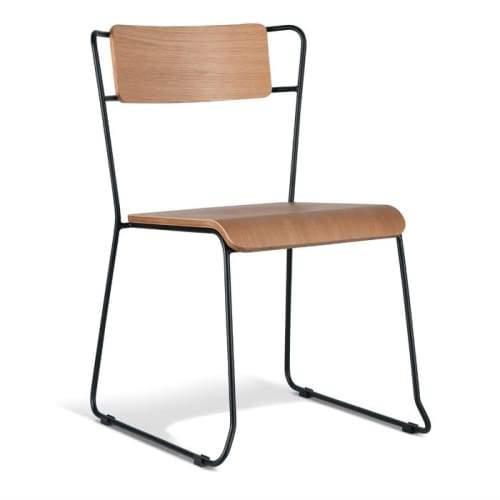 Bavleen Dining Chair - Black Frame - Natural Veneer Seat