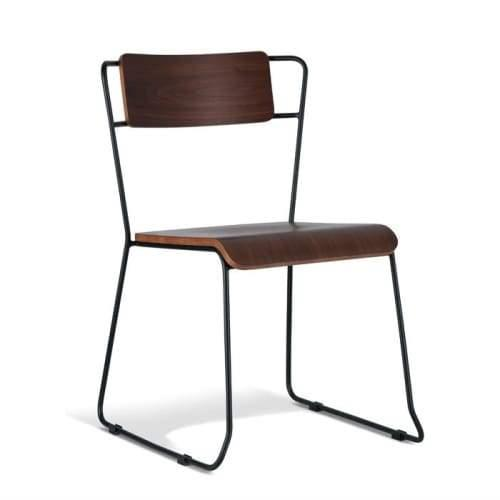 Bavleen Dining Chair - Black Frame - Walnut Veneer Seat
