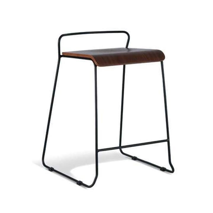 Bavleen Bar Stool 65cm - Black Frame - Walnut Veneer Seat