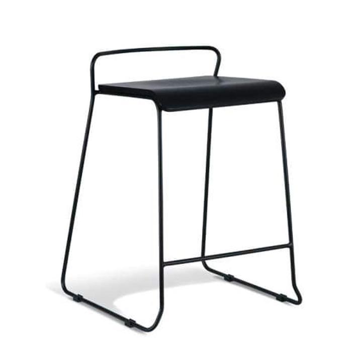 Bavleen Bar Stool 65cm - Black Frame - Black Veneer Seat