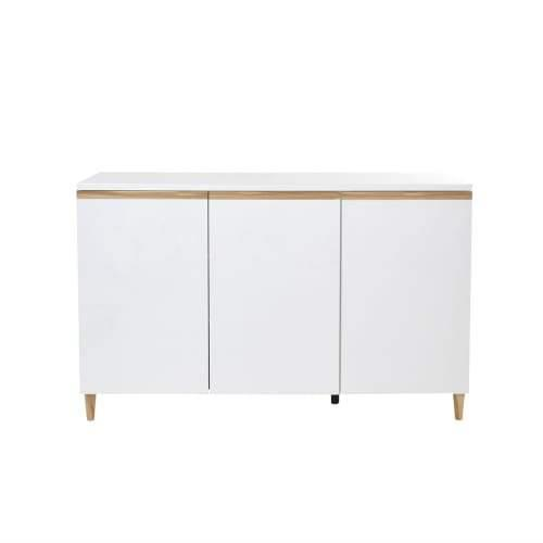 Carrie Sideboard Buffet Unit Cabinet - High Gloss White / Antique Oak
