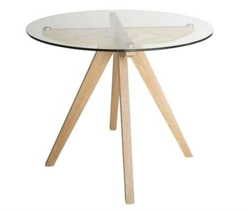 Amelia Collection Round Glass Dining Table - 90cm - Natural