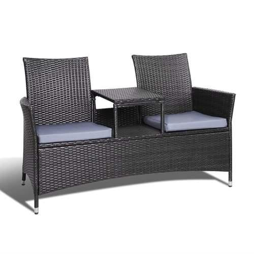 2 Seater Rattan Outdoor Set Bench Black