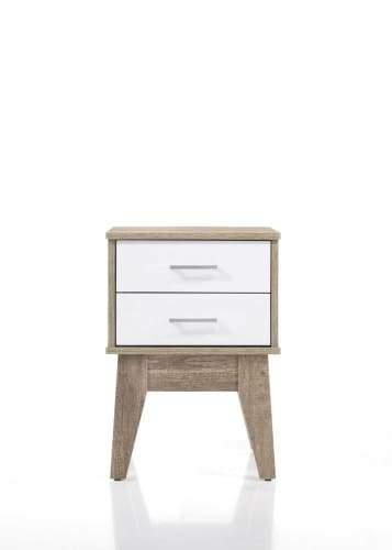 Endo 2-Drawers Bedside Table - Natural / White