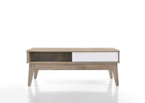 Nobu 2-Drawers Coffee Table - Natural / White