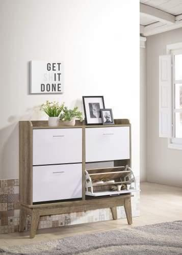 Endo 4-Drawers 12-Tiers Large Shoe Rack - Natural / White