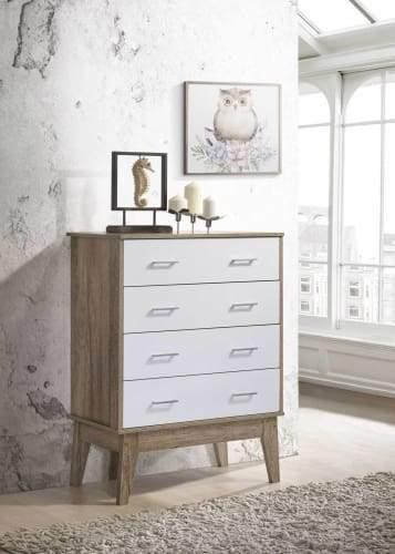 Nobu Tallboy Chest of Drawer - Natural / White