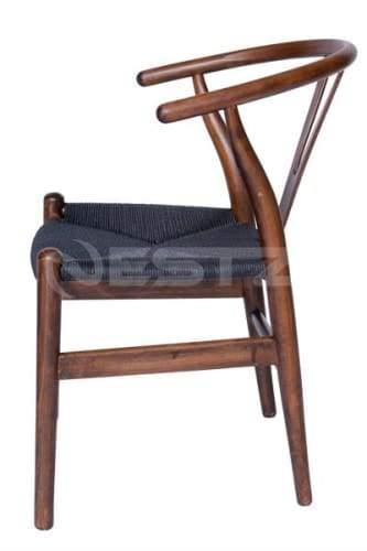 Set of 2 - Hans Wegner Replica Wishbone Cord Dining Chair - Black Seat - Antique Walnut