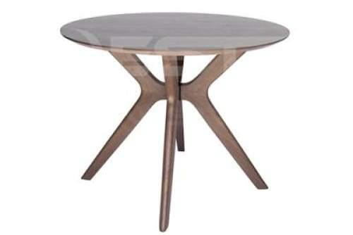 Lyn Round Wood Dining Table - 100cm - Walnut