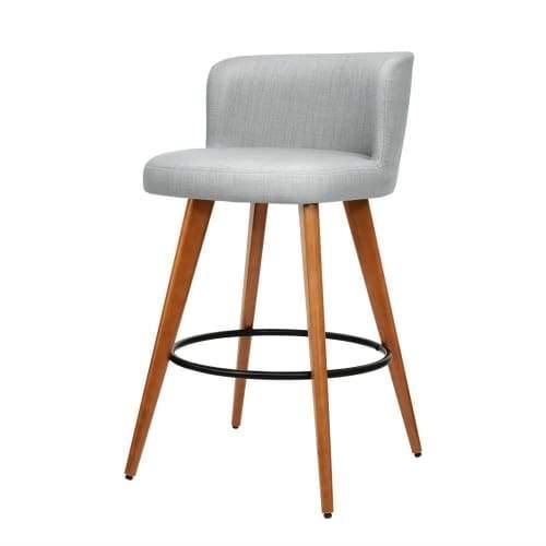 2x Wooden Bar Stools Modern Bar Stool Kitchen Fabric Light Grey