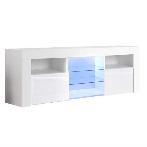 145cm RGB LED TV Stand Cabinet Entertainment Unit Gloss Furniture Tempered Glass Shelf White