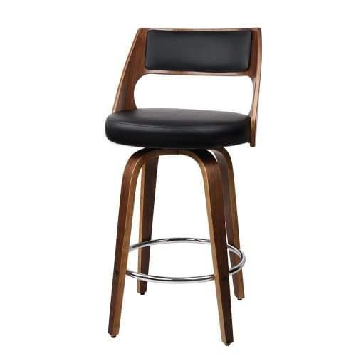 2 x Artiss Wooden Bar Stools Swivel Bar Stool Kitchen Dining Chair Cafe Black 76cm