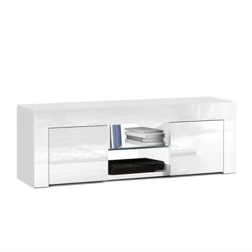 130cm High Gloss TV Stand Entertainment Unit Storage Cabinet Tempered Glass Shelf White