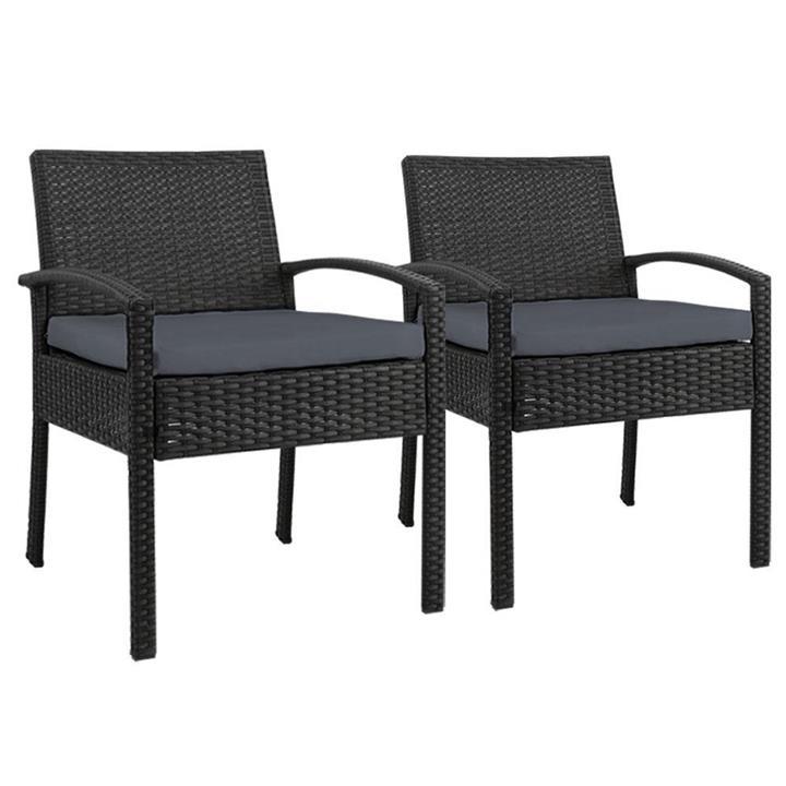 Gardeon Outdoor Furniture Dining Chairs Wicker Cushion Black x2
