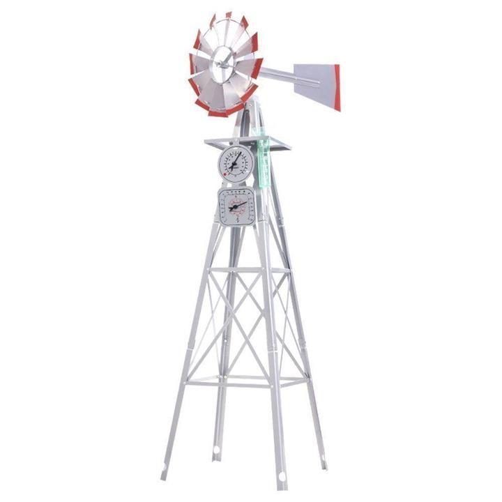 Garden Windmill 6FT 186cm Metal Ornaments Outdoor Decor Ornamental Wind Will