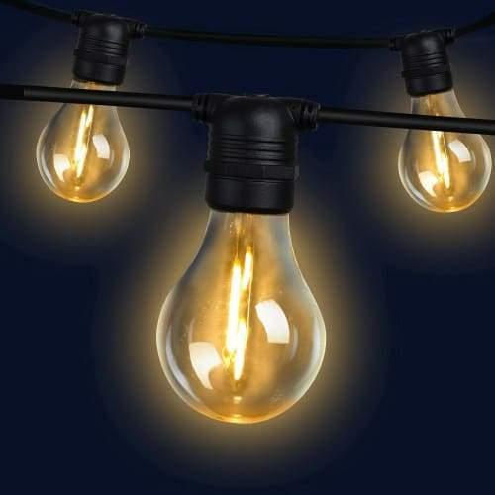 Jingle Jollys 50m LED Festoon String Lights 50 Bulbs Kits Wedding Party Christmas A19