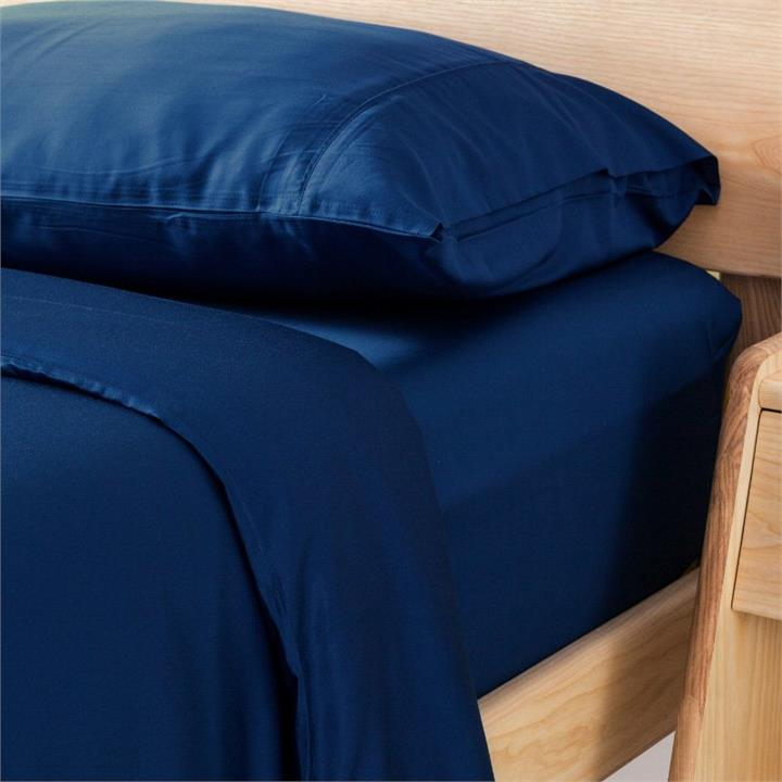 Ecosa Bamboo Bedding-Double-Navy Blue-Fitted sheet