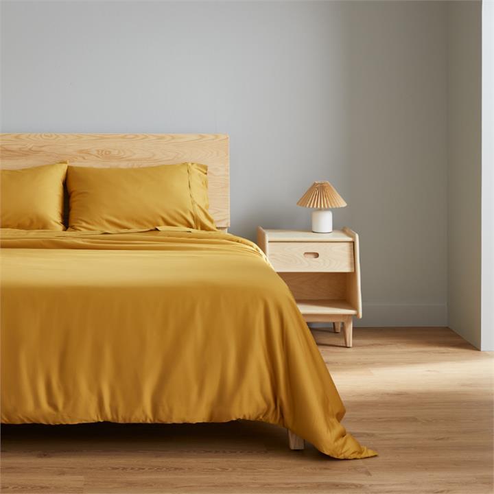 Ecosa Bamboo Bedding-King Single-Fitted sheet-Mustard