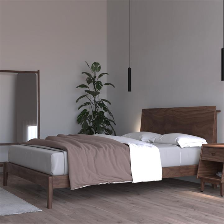 Ecosa Solid Timber Bed Base - Queen Wooden Bed Base - Walnut Colour