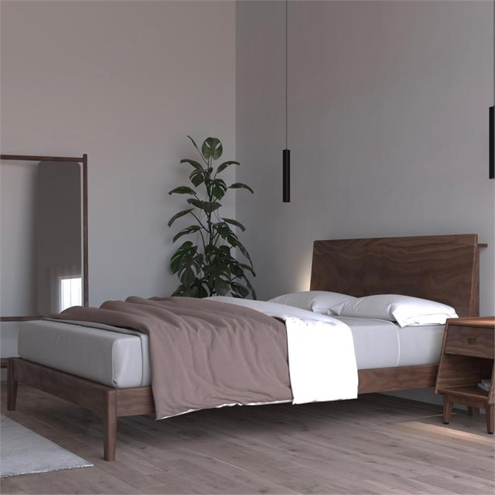Ecosa Solid Timber Bed Base - King Wooden Bed Base - Walnut Colour