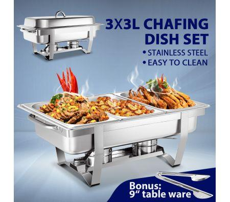 Image of 3 x 3L Bain Marie Bow Chafing Dishes Stainless Steel Buffet Warmer Stackable Set