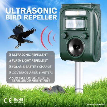 Image of Ultrasonic Bird & Animal Repeller Solar Powered Pest Repeller with LED Indicator