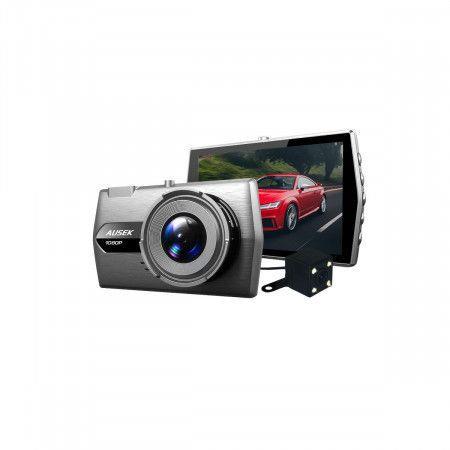 4.0 inch metal case night vision dual screen car dash dvr camera