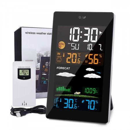 Image of Weather Stations Wireless with Outdoor Sensor, 21 In 1 Weather Forecast Station, LCD Color Screen, Hygrometer Thermometer Temperature Display Alarm Clock with EN/DE/FR Instruction Manual