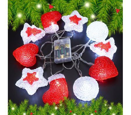 Image of 10 LED Home Christmas Party Light D�cor Red&White