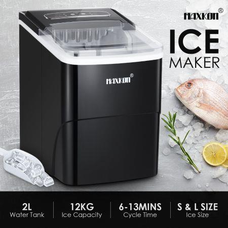 Image of MAXKON Ice Maker Ice Cube Machine 12KG Ice Capacity Black
