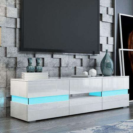 Image of TV Stand Cabinet 177cm Wood Entertainment Unit LED Gloss Storage Drawer - White