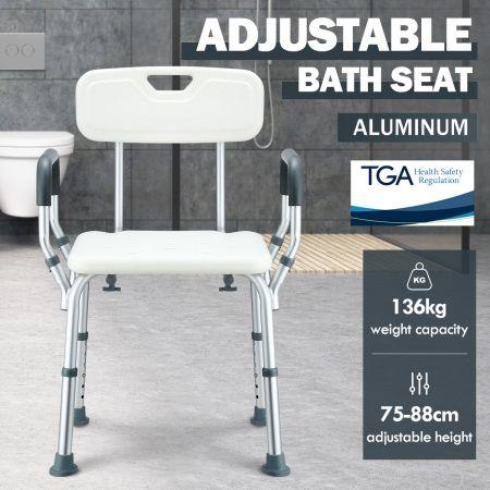 Image of Medical Shower Chair Bathtub Bath Seat Stool with Back and Armrests