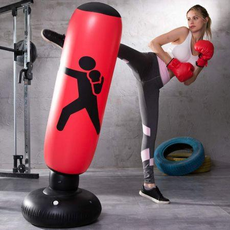 Image of Home Fitness Inflatable Punching Bag with Foot Pump 1.6m Get one Free foot pump