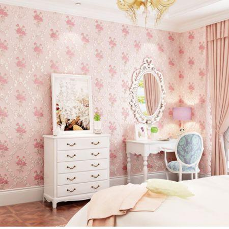 Image of 3D Self Adhesive Floral Pattern Non-Woven Wall Paper 53CMX3M Lt.Pink