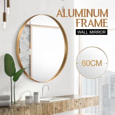 Image of Gold Large Round Mirror Decorative Wall Mirror 60cm