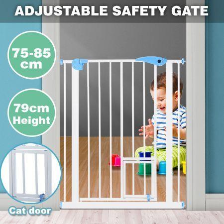 Image of 79cm Tall Baby Safety Security Gate Adjustable Pet Dog Stair Barrier w/ Cat Door