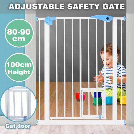 Image of 100cm Tall Baby Safety Security Gate Adjustable Pet Dog Stair Barrier w/ Cat Door