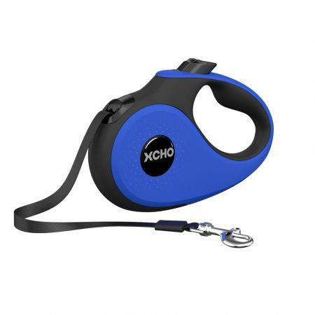 Heavy Duty Retractable Dog Leash with Anti-Slip Handle; 16 ft Strong Nylon Tape; One-Handed Brake, Pause, Lock, For Dogs Under 25kg ( Blue)