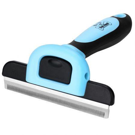 Image of Pet Grooming Brush Effectively Reduces Shedding by Up to 95% Professional Deshedding Tool for Dogs and Cats( Blue)