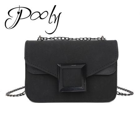 Poly  Matte Suede Chain Crossbody Mini Shoulder Bag
