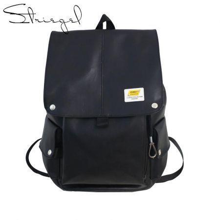 PU Black Leather Backpack School College Travel bag