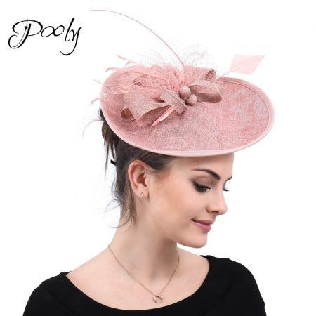 Poly   Fascinators Hats  Feather Flower   Pillbox Hat Cocktail Tea Party Headwear Rose Pink
