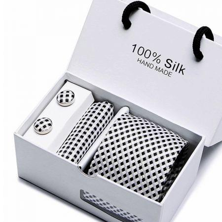 Striegel Men Silk Formal Tie Necktie Set with Pocket Square Cufflinks