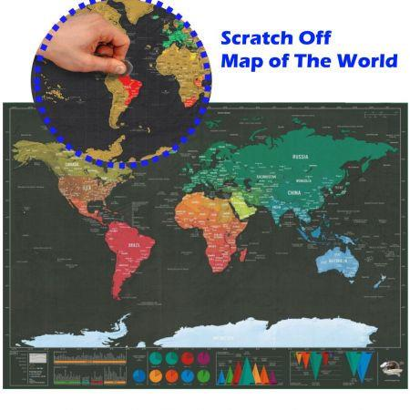 Image of Scratch Off World Map Premium Wall Art Gift for family educational game