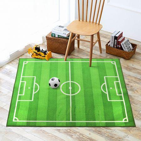 Image of Play Rug Soccer Field Machine Washable Football Field Carpet, Play Mat for Boys Girls Home Deco 150x200cm
