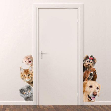 Image of 3D Wall Stickers Cats Dogs PVC Self Adhesive Removable DIY Decoration