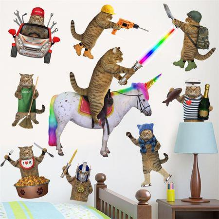 Image of 3D Wall Car Cabinet Stickers Cats PVC Self Adhesive Removable DIY Decoration