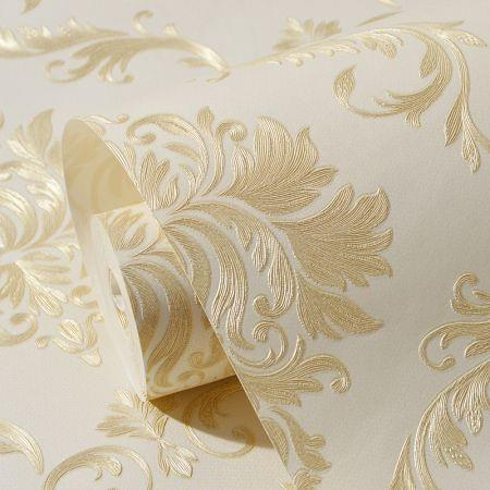 Image of 3D Self Adhesive Floral Pattern Non-Woven Wall Paper 53CMX5M Beige Yellow
