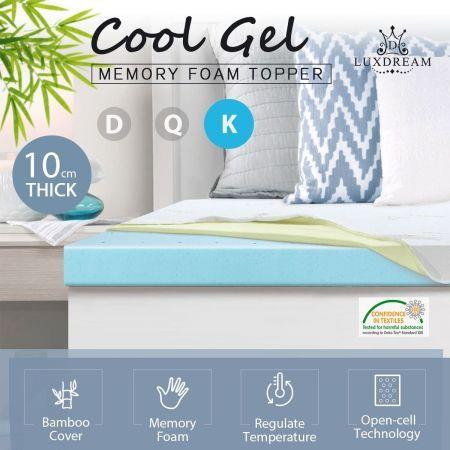 Image of 10cm Super King Size Cool Gel Memory Foam Mattress Topper Underlay Bamboo Cover