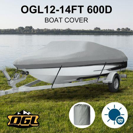 OGL 12-14 ft Trailerable Boat Cover Waterproof Marine Grade Fabric for V Hull Fishing Boats